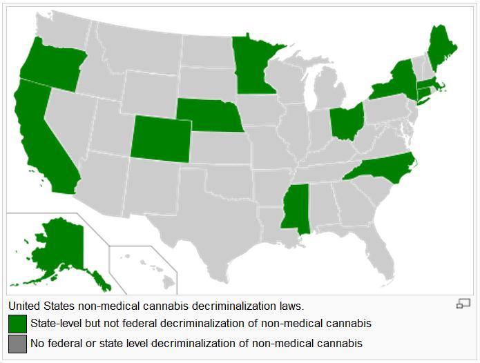 """מדינות ארה""""ב בהן עבר מהלך של דה-קרימינליזציה"""