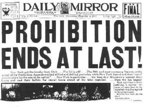 ההודעה בעיתון על ביטול חוק היובש