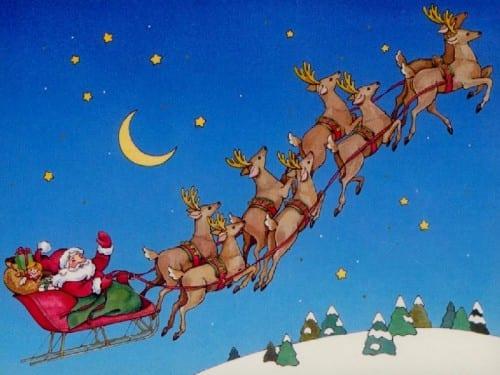 סנטה עם האיילים בשמיים