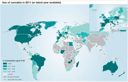 כמות משתמשי הקנאביס בעולם
