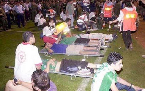 אוהדים פצועים במשחק כדורגל