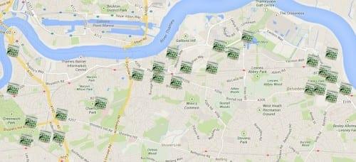 שקיות סמים בלונדון - מפה