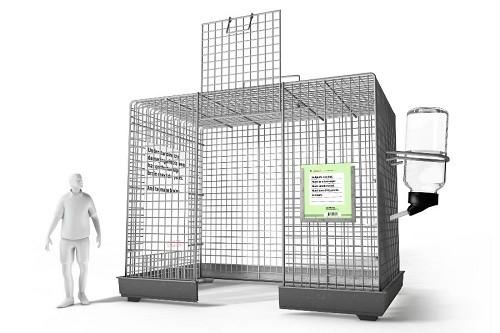 מודל הכלובים - גודל אדם לצורך השוואה