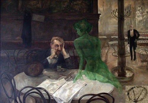'שותה אבסינת', יצירה של הצייר הצ'כי ויקטור אוליבה