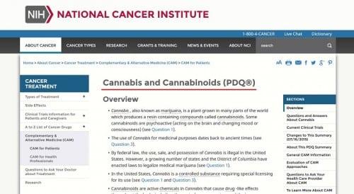 מכון הסרטן הלאומי - קנאביס הורג סרטן