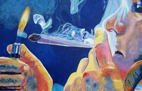 ציור של אישה מעשנת קנאביס