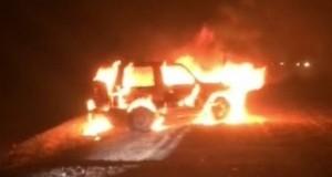 ג'יפ הפאג'רו של החשודים עולה באש