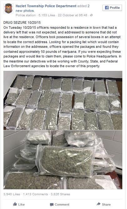 """הודעת משטרת בניו ג'רזי, ארה""""ב, לגבי מריחואנה שנשלחה בטעות"""