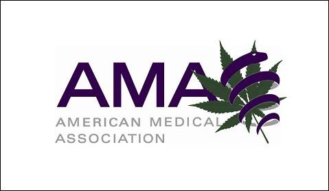 לוגו איגוד הרופאים האמריקאי בשילוב עלה קנאביס