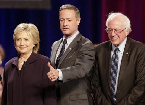 המועמדים הדמוקרטיים לנשיאות: הילרי קלינטון, מרטין אומאלי וברני סנדרס