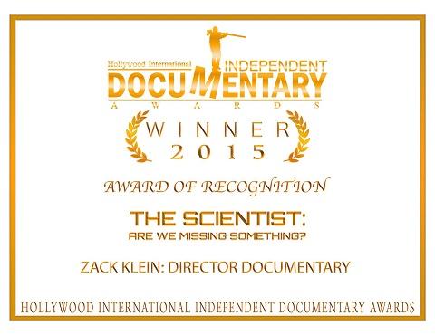 פרס בו זכה הסרט 'המדען' של הבמאי צח קליין
