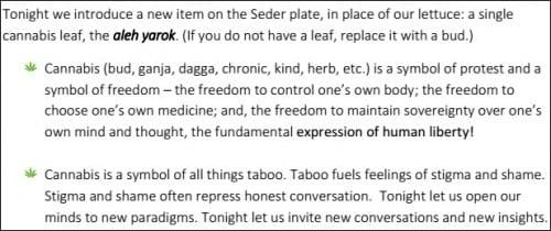 הפריט החדש על צלחת הסדר: עלה קנאביס כסמל של חירות וחופש