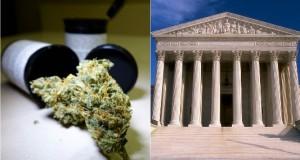 """בית המשפט העליון בארה""""ב לצד תמונה של פרח קנאביס"""
