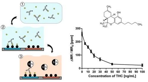 """נאנו-חלקיקים נצמדים למולקולות ה-THC, מה שמפחית בהדרגה את הזרם החשמלי הנפלט מהם - הבסיס לבדיקה החדשנית (""""הינשוף הירוק"""" - בדיקה חדשה תזהה נהיגה תחת השפעת קנאביס)"""