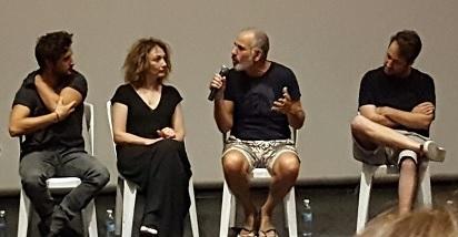 """צוות הסרט """"שבוע ויום"""" (מימין לשמאל) - אסף פולונסקי, שי אביבי, יבגניה דודינה ותומר קפון"""