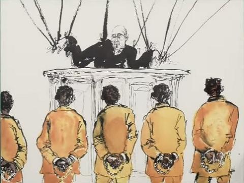 """סצנה מתוך סרטון של הראפר Jay-Z (שון קרטר) - """"שופטים נשלטו מלמעלה ונאלצו לקבוע מאסרי עולם במקרים פשוטים של החזקה לשימוש עצמי."""" - נגד הפללת צרכני סמים, נגד המלחמה בסמים"""