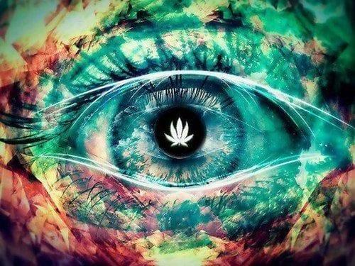 עין אנושית עם תמונה של עלה קנאביס (מה קורה בגוף כשמערבבים קנאביס עם טבק?)