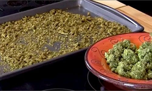 De - carboxylation - cannabis on tray