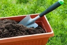 Soil with shovel