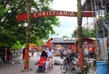 The entrance gate to Christiania