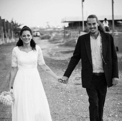 מרדכי יורקביץ' ואשתו ביום חתונתם
