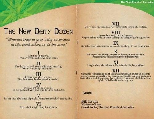 עשרת הדיברות של כנסיית הקנאביס