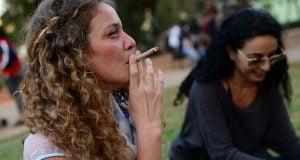An Israeli smokes a joint (Photo: Tomer Neuberg, Flash 90)