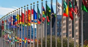 The flags of the nations of the world at the UN