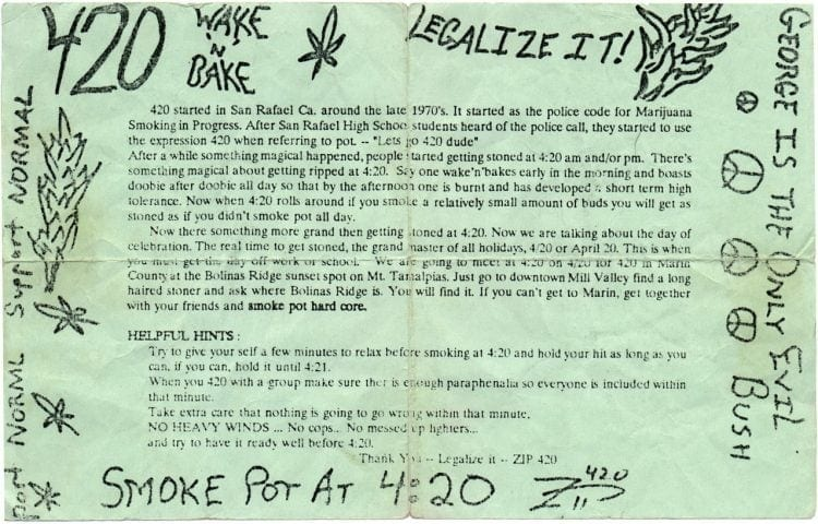 The original 420 flier that was distributed at the Grateful Dead concert at 1990