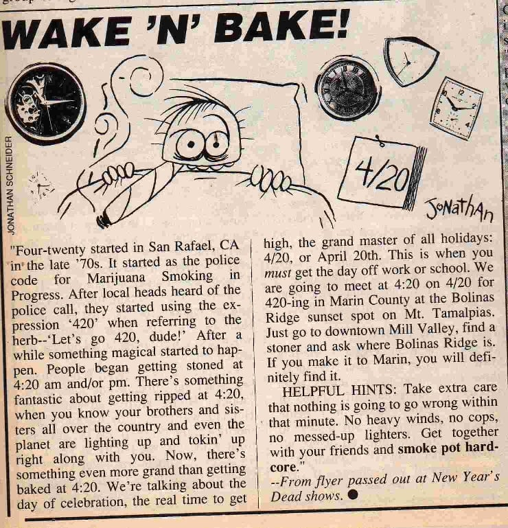 The first time 420 appeared in the media - High Times Magazine, May 1991