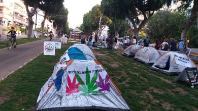 Cannabis protest tent Tel Aviv
