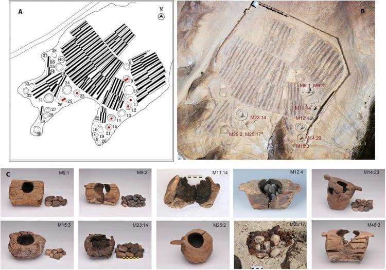 Archeologen 'bevindingen bij opgravingen in het Jirznekel-graf in het westen van China