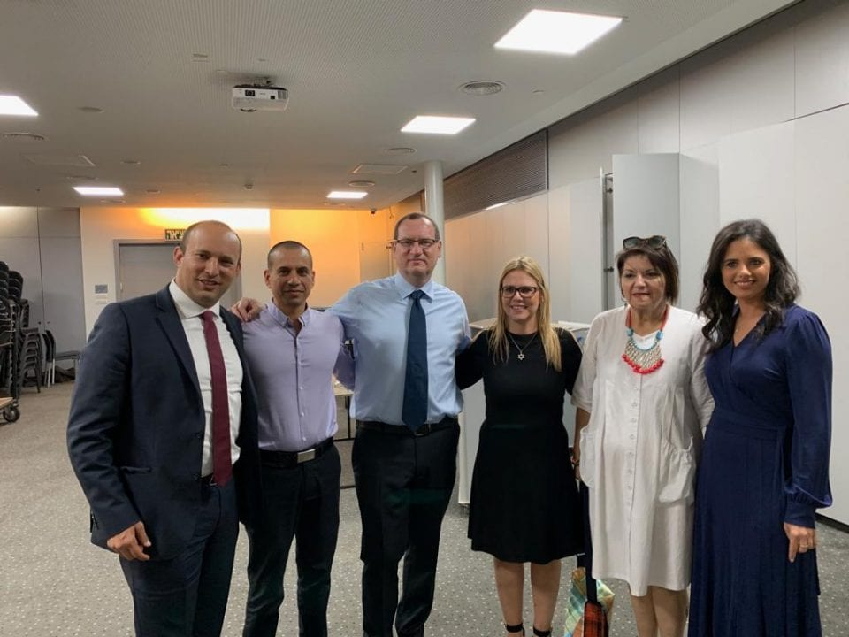 """Members of the """"right"""" party with Gilad Alper and Livi Mold"""