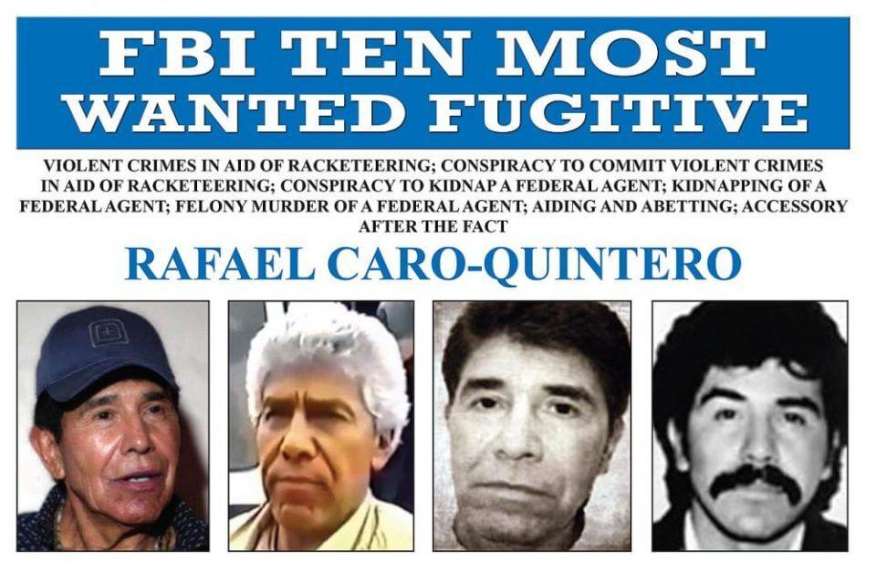 מודעה שמכריזה על רפאל קארו קינטרו כאחד מעשרת הפושעים הנמלטים המבוקשים ביותר של ה-FBI (מקור: אתר ה-FBI)