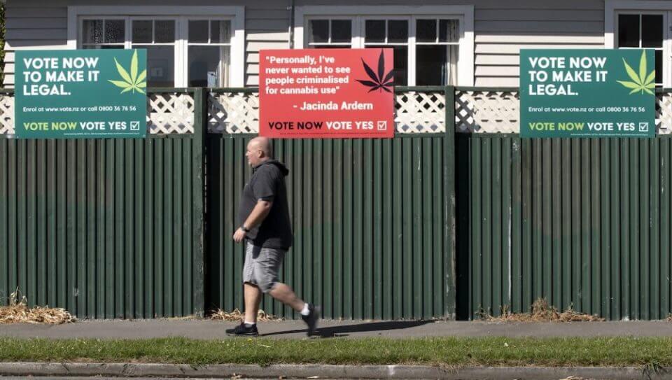 שלטי תמיכה בהצעת החוק ללגליזציה ניו זילנד 2020 (צילום: Mark Baker/AP)