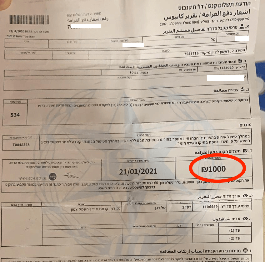 """דו""""ח קנס קנאביס 1,000 ש""""ח"""